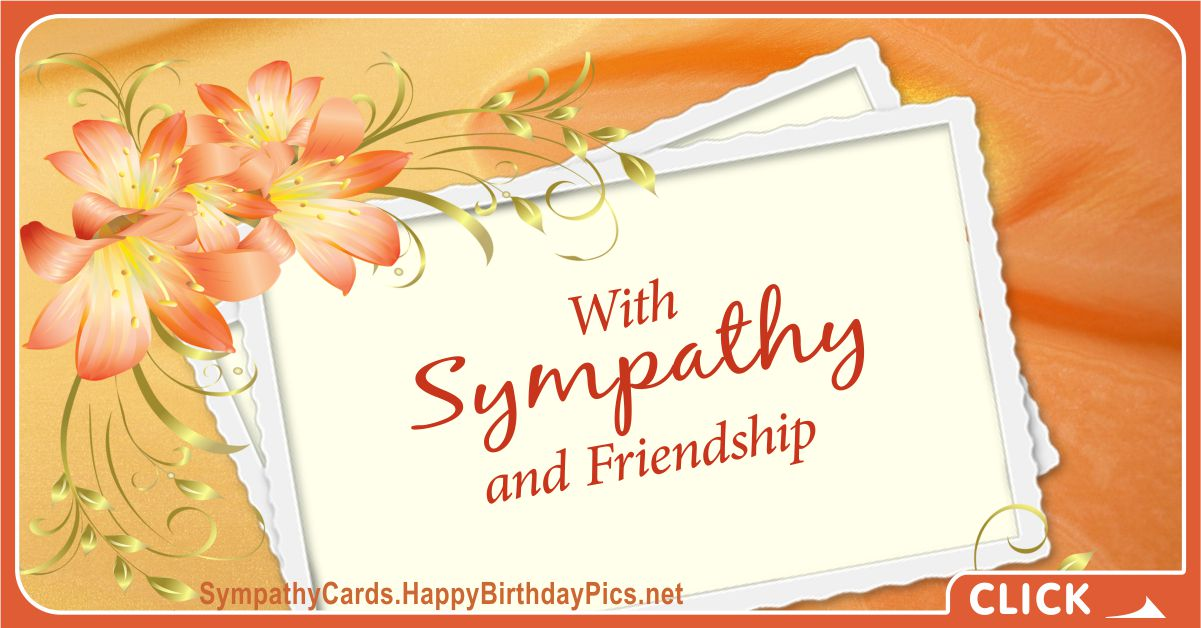 With Sympathy and Friendship Condolence Card