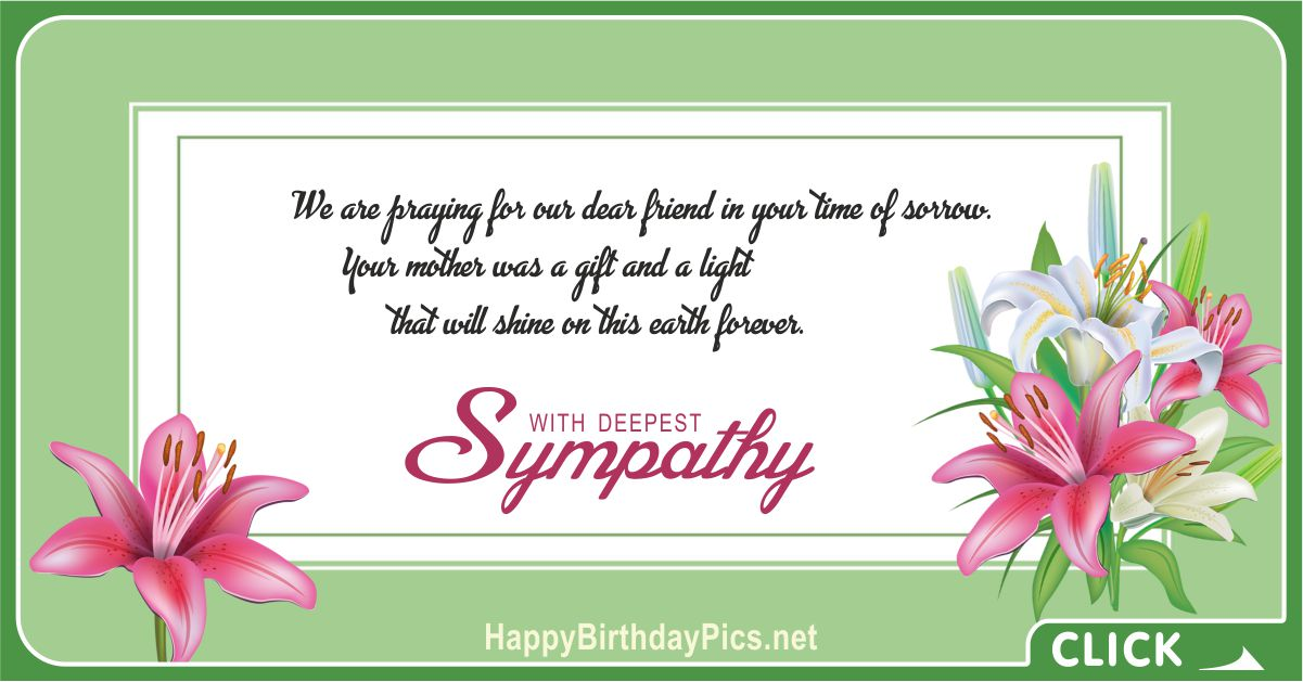 We Pray for Your Stamina to the Sadness of Losing Your Mother - Condolence Message Card Equivalents
