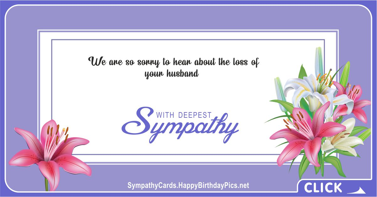 Sorry About the Loss of Your Husband - Condolence Message Card Equivalents