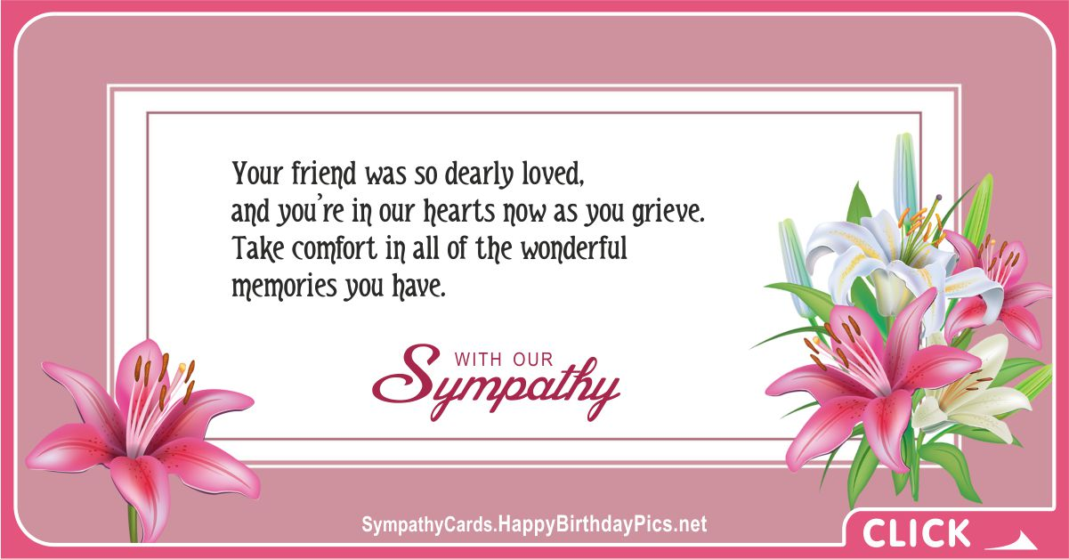 Your Friend was so Dearly Loved - Condolence Message Card Equivalents