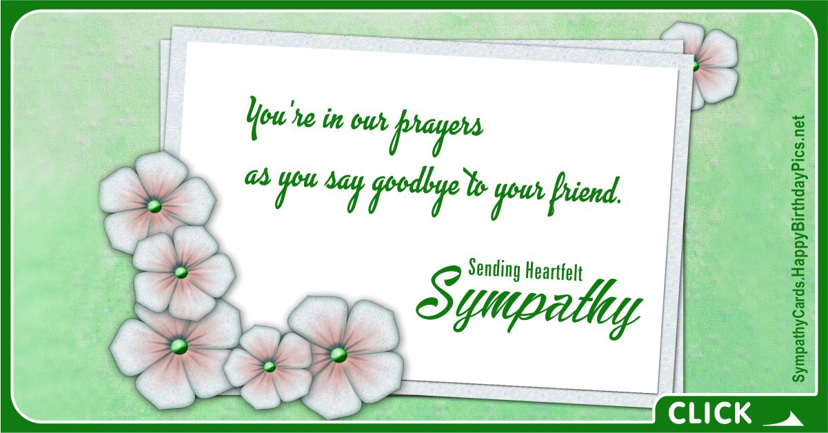 You Are in Our Prayers - Condolence Message Card Equivalents